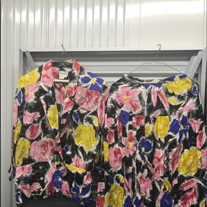Newman Marcus woman's floral jacket and skirt.